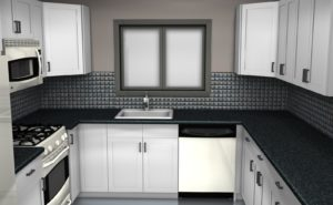 kitchen set minimalis hitam putih contoh